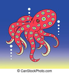 red octopus cartoon vector illustration
