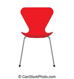 Red office chair vector flat icon front view. Comfortable relaxation sign interior furniture equipment nobody