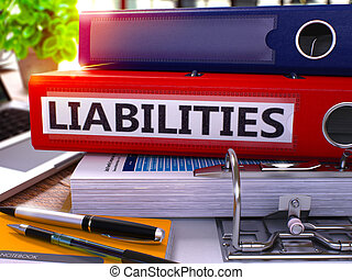Red Office Folder with Inscription Liabilities. - Red Office...
