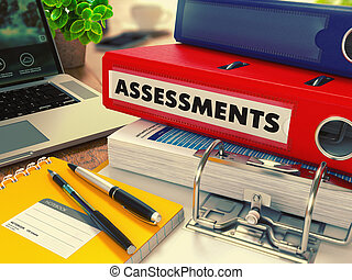 Red Office Folder with Inscription Assessments.