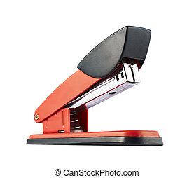 Red office stapler isolated