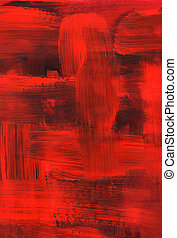 Red oil painting, brush strokes texture