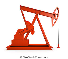 Red oil rig on isolated white background 3D