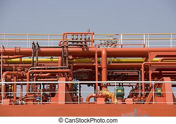 oil tanker - red oil tanker in detail
