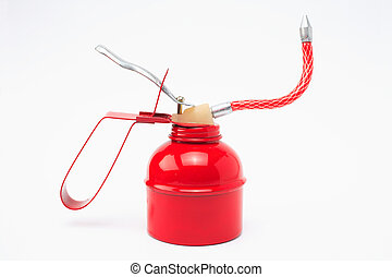 Red oilcan with adaptable oil valve as a free plate