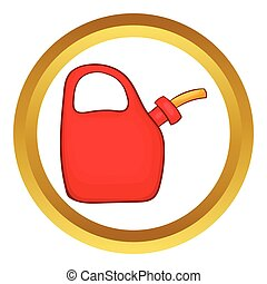 Red oiler vector icon in golden circle, cartoon style...