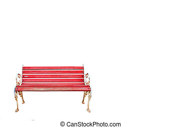 red old bench isolated