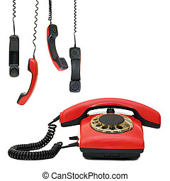 Red old telephone. Composite