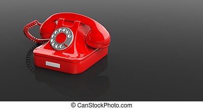 Red old telephone on black background. 3d illustration