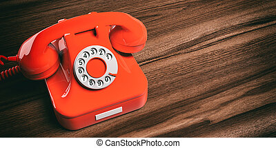 Red old telephone on wooden background. 3d illustration
