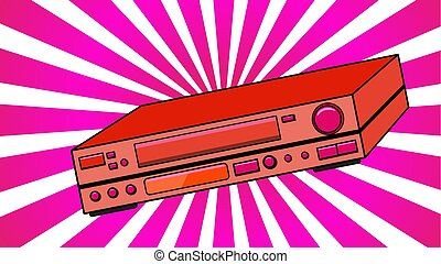 Red old vintage volumetric retro hipster antique video recorder for videocassettes for watching movies, videos from the 80's, 90's against the background of purple rays. Vector illustration.