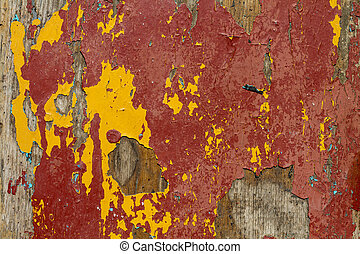 Red old wooden background close up. Dirty, fiber.