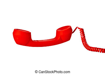 red oldtelephone receiver on white background