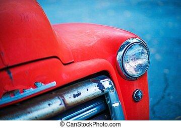 Red Rusty Oldtimer Pickup Closeup Photo.