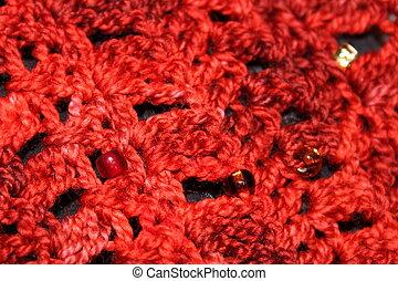 Red Ombre Crochet Fabric Closeup