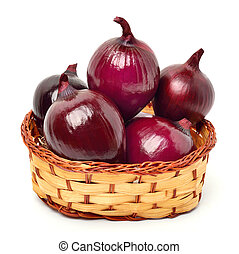 Red onion in the basket