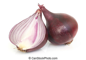 Red onion on white background