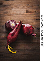 red onion on wood