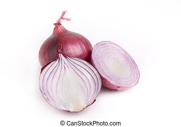 Red Onion - Red onion cut two ways with whole one against...
