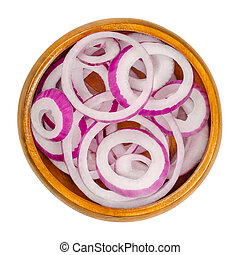 Red onion rings in a wooden bowl - Red onion rings in wooden...