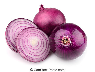 Sweet red onion on the white