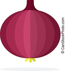 Red onion vector flat material design isolated object on ...