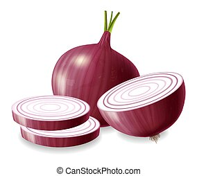 Red onion vector realistic isolated on white 3d illustrations