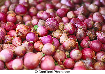 Red onions background