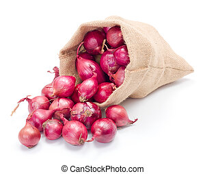 Red onions in burlap sack