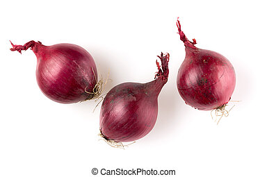 red onions isolated on white background cutout, top view