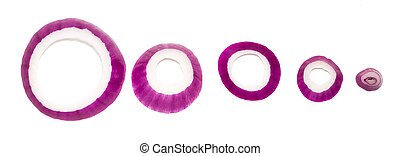 red onions isolated on white background, top view