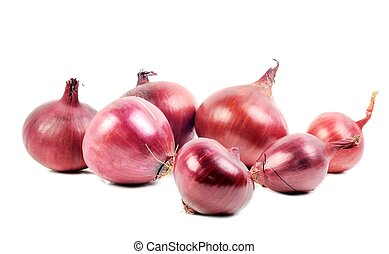 Red onions  ,  on a white background