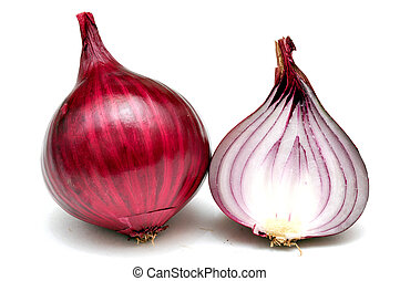 red onions on a white background