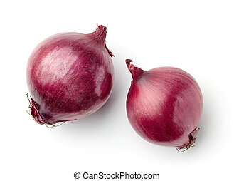 red onions on white background