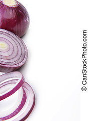 red onions on white