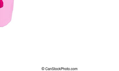 red opaque liquid fills up screen, isolated on white full HD...