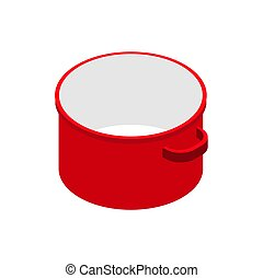 Red open empty saucepan isolated isometric. Utensils on white background