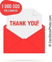 red open envelope with 1000000 followers or friends