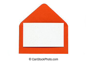 red open envelope with blank card