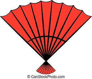 Red open hand fan icon cartoon