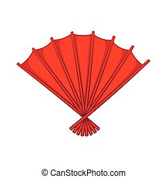Red open hand fan icon, cartoon style