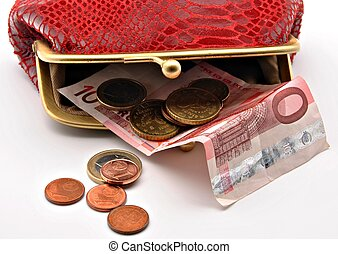 Red open purse