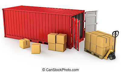 Red opened container and many of carton boxes on a pallet, ...