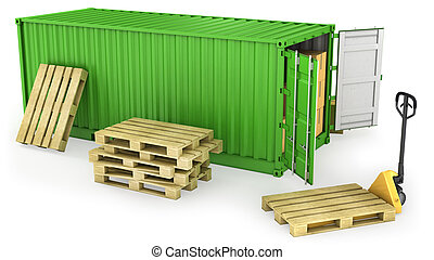 Red opened container and many of carton boxes on a pallet -...