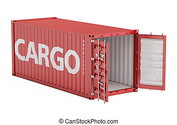 red opened empty cargo container, 3D rendering