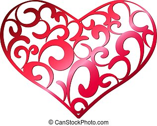 Red openwork heart on a white background