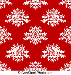 Red or amaranth damask style fabric pattern - Red or...