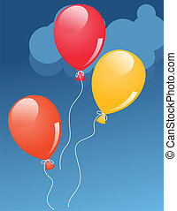 Red, orange and yellow helium baloons in sky