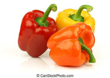 red, orange and yellow paprika