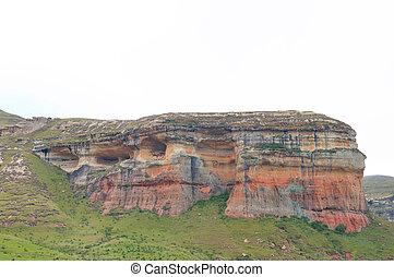 Red, orange and yellow sandstone cliffs